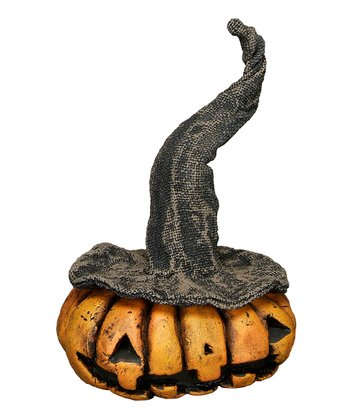 Orange Witch Pumpkin Head Figurine