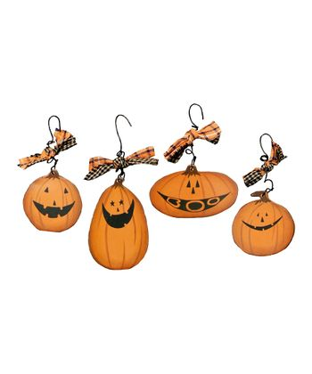 Miniature Wooden Jack-o'-Lantern Ornament Set