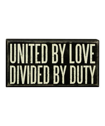 Black 'United by Love' Box Sign