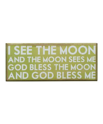 Green 'I See the Moon' Box Sign
