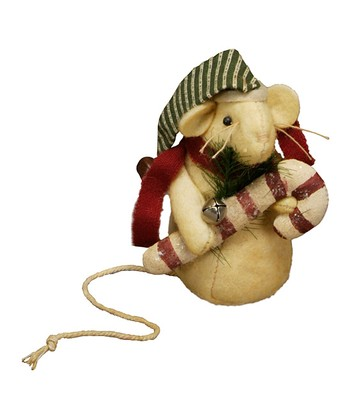 Candy Cane Mouse Figurine