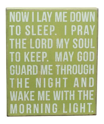 Green 'Lay Me Down to Sleep' Box Sign