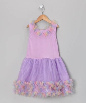 Lilac Rainbow Princess Ruffle Dress - Toddler & Girls