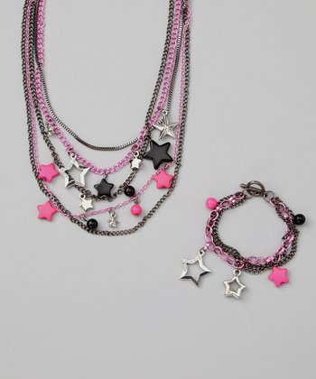 Princess Expressions Black & Fuchsia Star Necklace & Bracelet