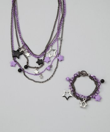 Princess Expressions Black & Purple Star Necklace & Bracelet