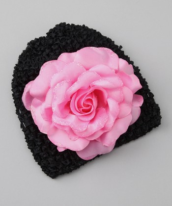 Black & Pink Glitter Rose Crocheted Beanie