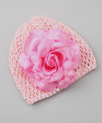 Pink Glitter Rose Crocheted Beanie