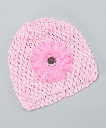 Pink Flower Crocheted Beanie