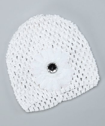 White Flower Crocheted Beanie