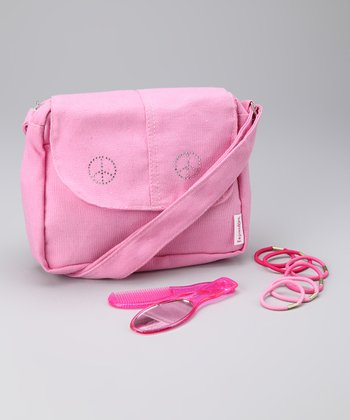Pink Studded Peace Tote Set