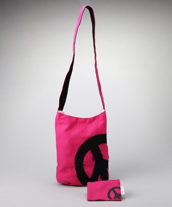 Fuchsia & Black Shoulder Bag & Coin Purse