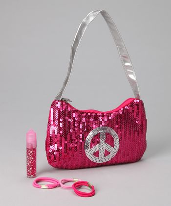 Fuchsia Sequin Hobo Set