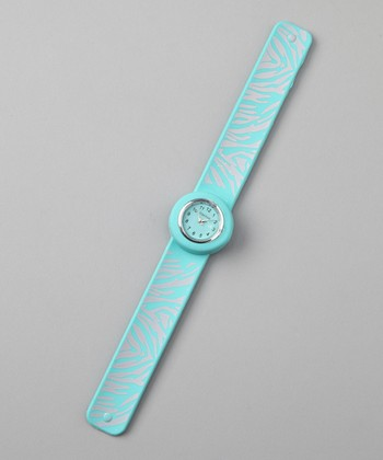 Light Blue Zebra Slap Watch
