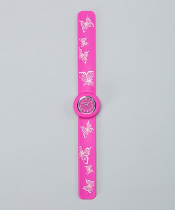 Pink Butterfly Slap Watch