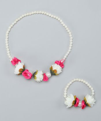 White & Fuchsia Flower Necklace & Bracelet