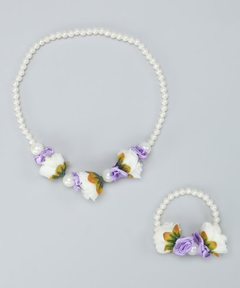 White & Lilac Flower Necklace & Bracelet