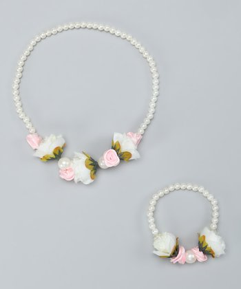 White & Pink Flower Necklace & Bracelet