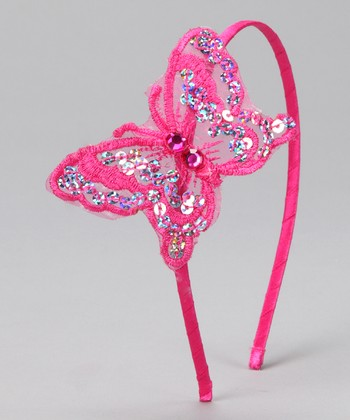 Fuchsia Sequin Butterfly Headband