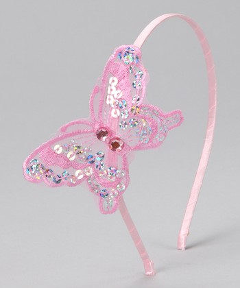 Pink Sequin Butterfly Headband