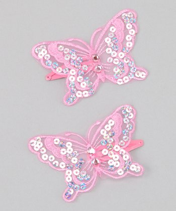 Pink Sequin Butterfly Clip - Set of Two