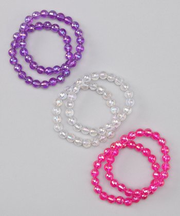Fuchsia & Purple Stretch Bracelet Set