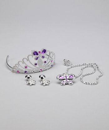 Purple Butterfly Princess Tiara Set