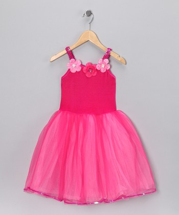 Fuchsia Flower Dress - Girls