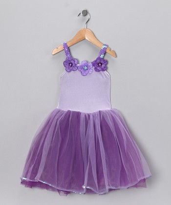 Purple & Lilac Flower Dress - Girls