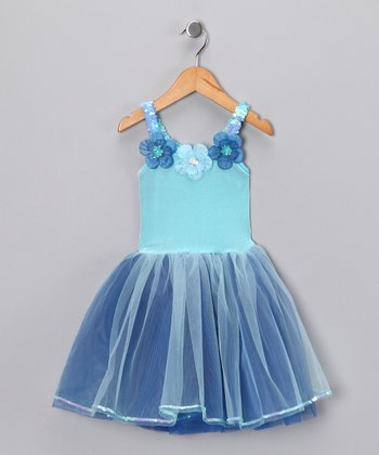 Blue & Turquoise Flower Dress - Girls