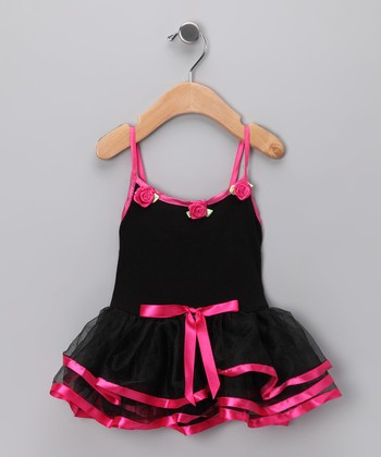 Black & Pink Skirted Leotard - Infant