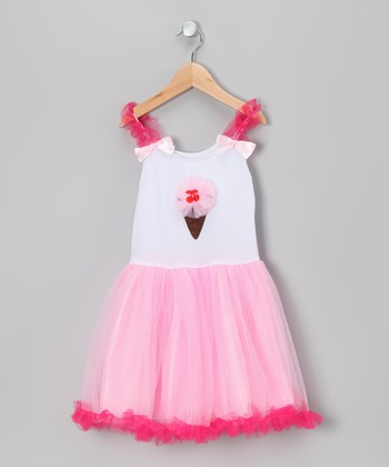 Pink Ice Cream Cone Candy Tulle Dress - Toddler & Girls