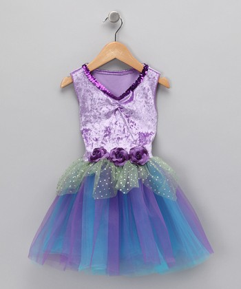 Purple & Turquoise Velvet Sequin Dress - Toddler & Girls