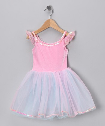 Pink & Turquoise Velvet Dress - Girls