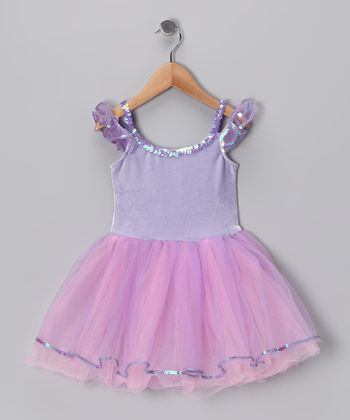 Lilac & Pink Velvet Rainbow Dress - Girls