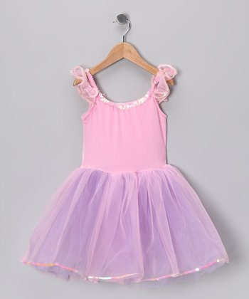 Pink & Lilac Velvet Rainbow Dress - Girls