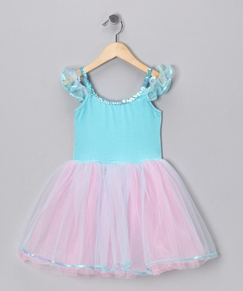 Aqua & Pink Velvet Dress - Girls