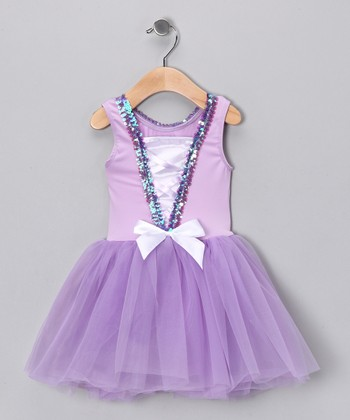 Lilac & White Sequin Bow Tutu Dress - Toddler & Girls