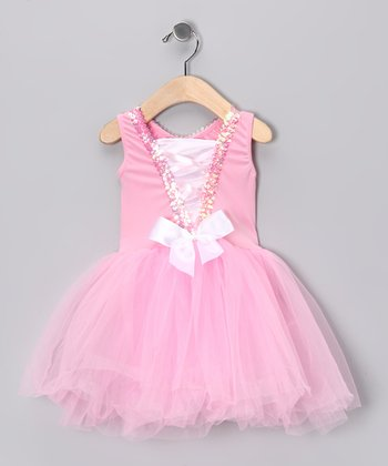 Pink & White Sequin Bow Tutu Dress - Toddler & Girls