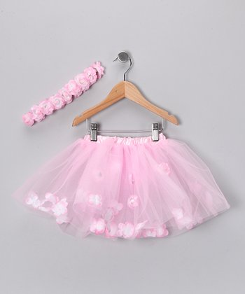 Pink Rose Tutu & Flower Headband