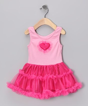 Pink & Fuchsia Heart Ruffle Dress - Infant