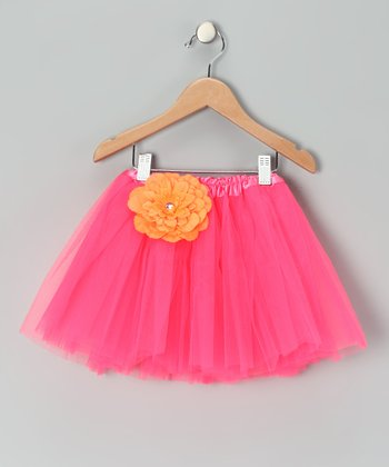 Pink & Orange Flower Tutu - Girls