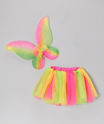 Pink & Yellow Ruffle Skirt & Wings - Toddler & Girls