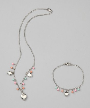 Princess Expressions Silver Heart Charm Necklace & Bracelet