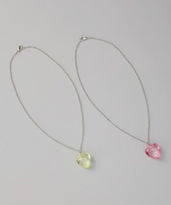Light Pink & Yellow Heart Charm Necklace Set