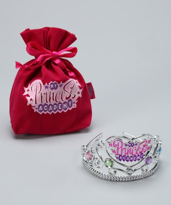 Silver 'Princess Academy' Crown & Velvet Bag