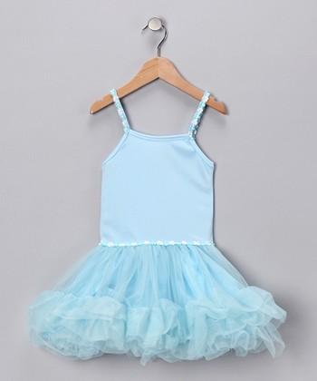 Light Blue Tiered Ruffle Dress - Girls