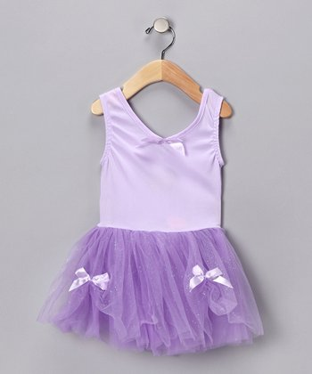 Lilac Glitter Ribbon Dress - Toddler & Girls