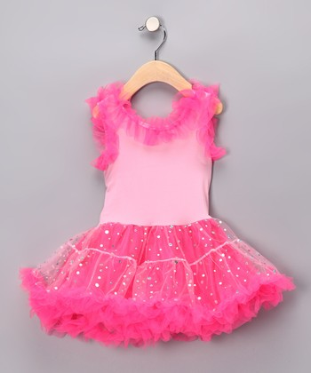 Fuchsia Sequin Ruffle Dress - Toddler & Girls
