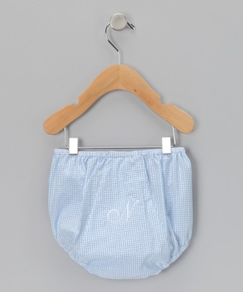 Blue Gingham Initial Diaper Cover - Infant & Toddler