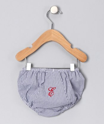 Navy Gingham Initial Diaper Cover - Toddler